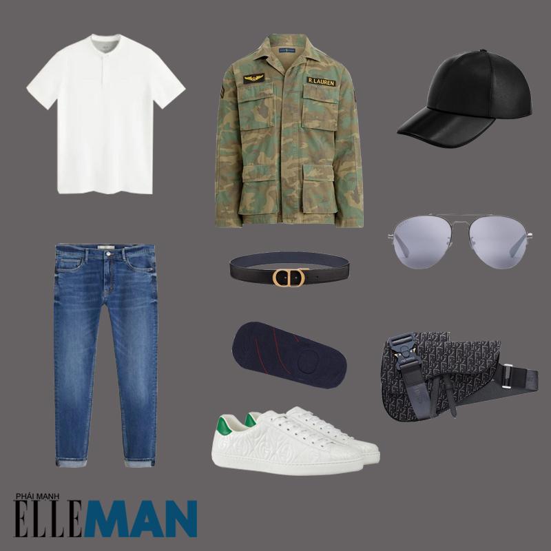outfit 1 - phối đồ màu xanh olive