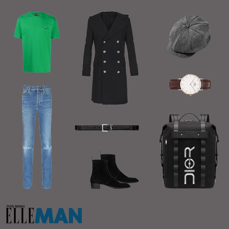 outfit 5 - phối đồ màu xanh olive