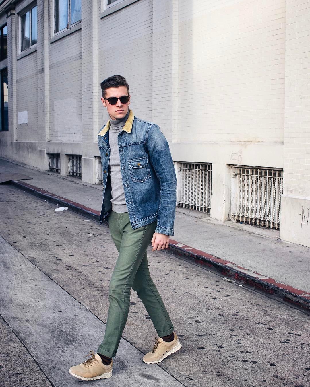 phối đồ màu xanh olive - parker york smith