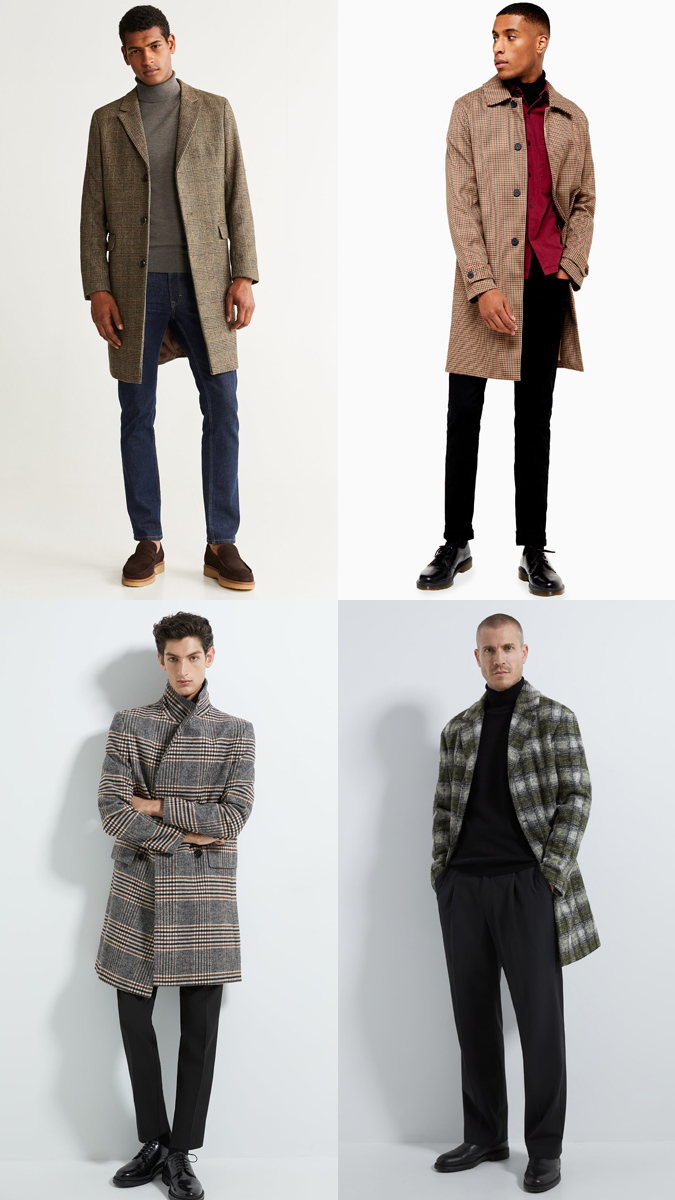 cách phối đồ với những chiếc check coat và áo chất liệu dệt kim sợi to
