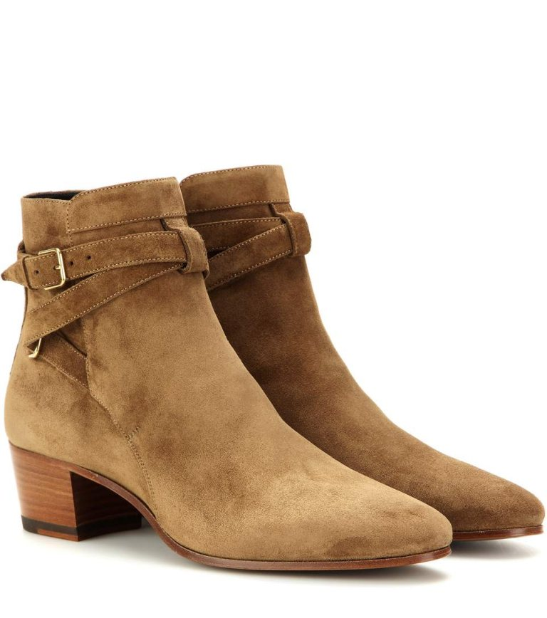 Giày Jodhpur boots da suede (da lộn) của Saint Laurent.