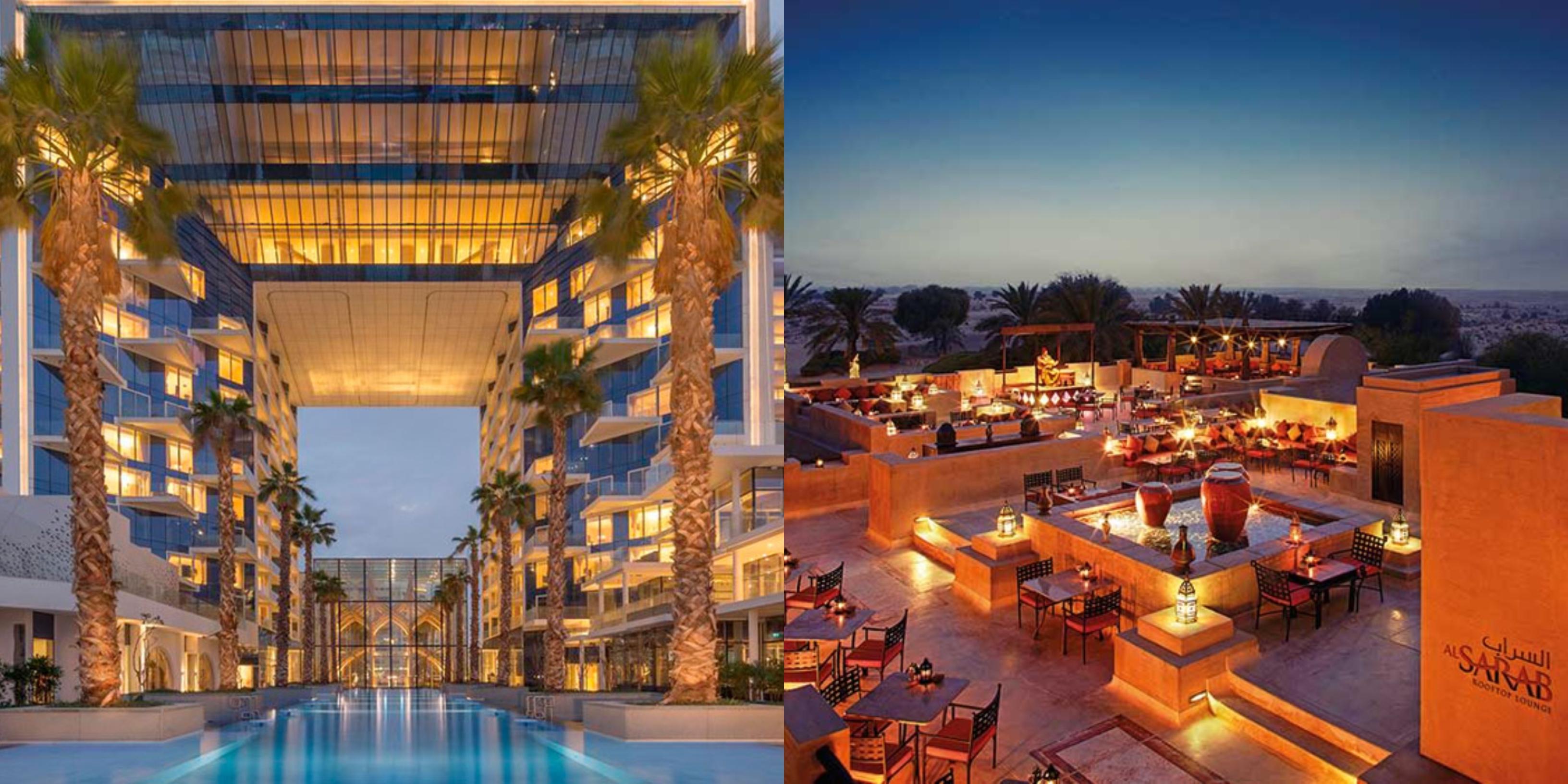 hai địa điểm du lịch nổi tiếng là khách sạn Five Palm Jumeirah và Bab Al Shams Sesert Resort & Spa