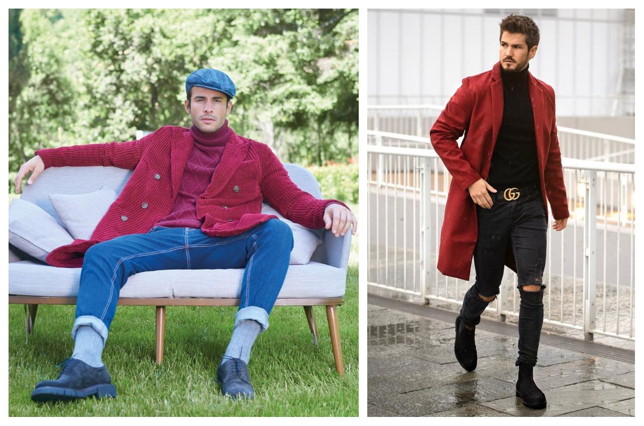 phối trang phục màu đỏ burgundy - fabrizio