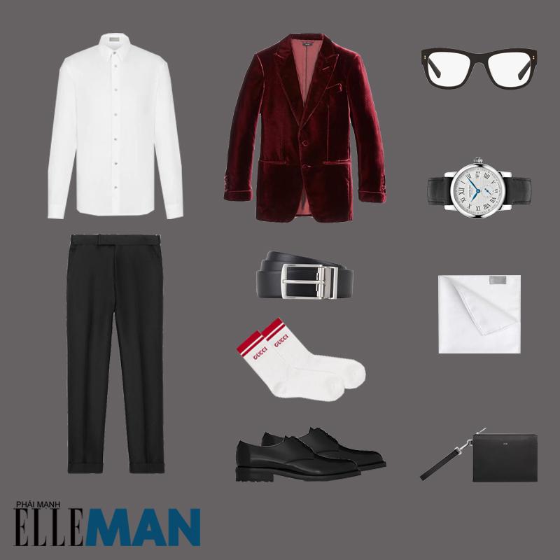 outfit 5 - phối trang phục màu đỏ burgundy