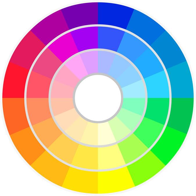 quần áo màu pastel - colour wheel