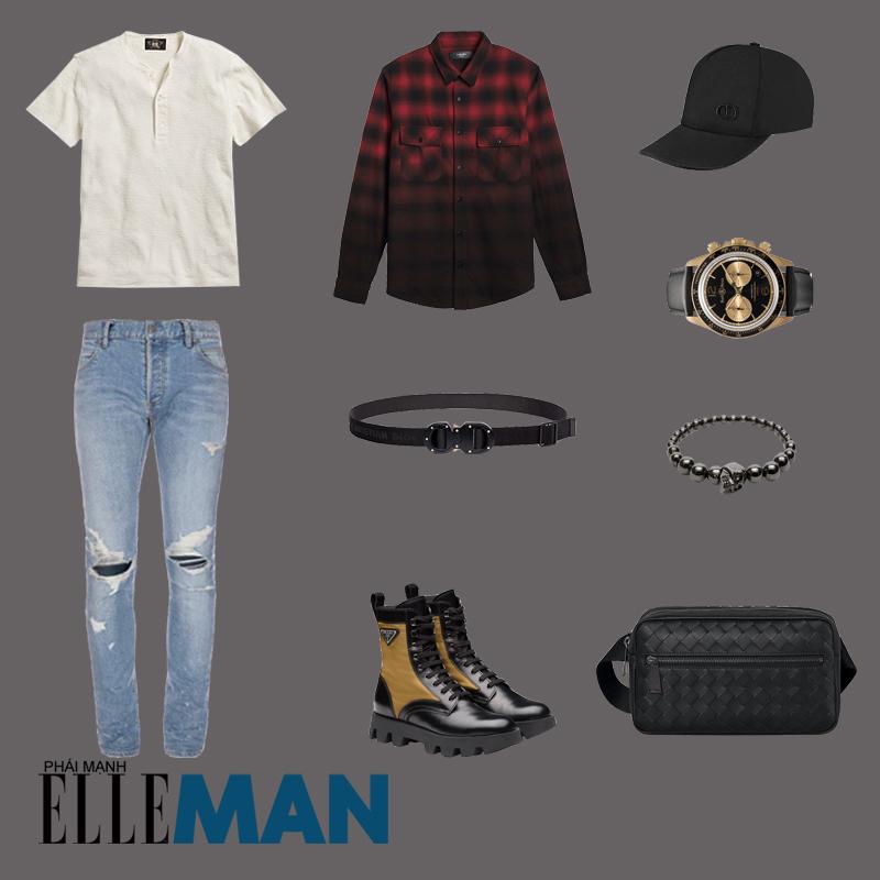 outfit 1 - phối đồ với áo thun henley