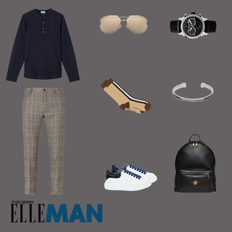 outfit 2 - phối đồ với áo thun henley