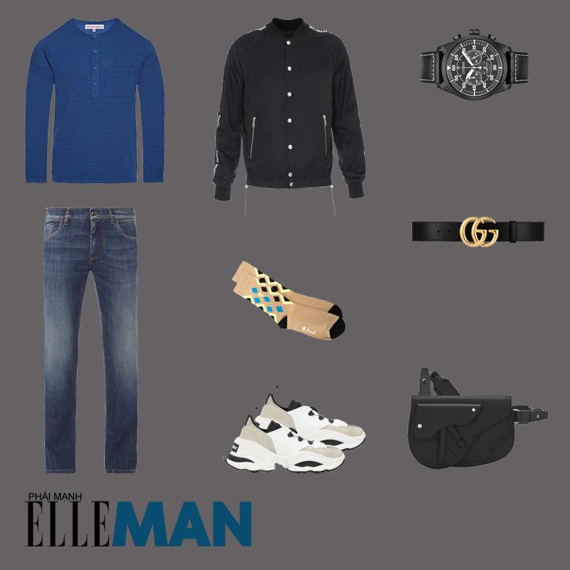 outfit 3 - phối đồ vơi áo thun henley