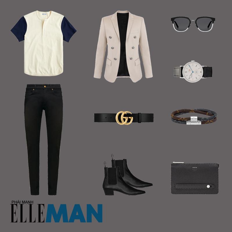 outfit 5 - phối đồ với áo thun henley