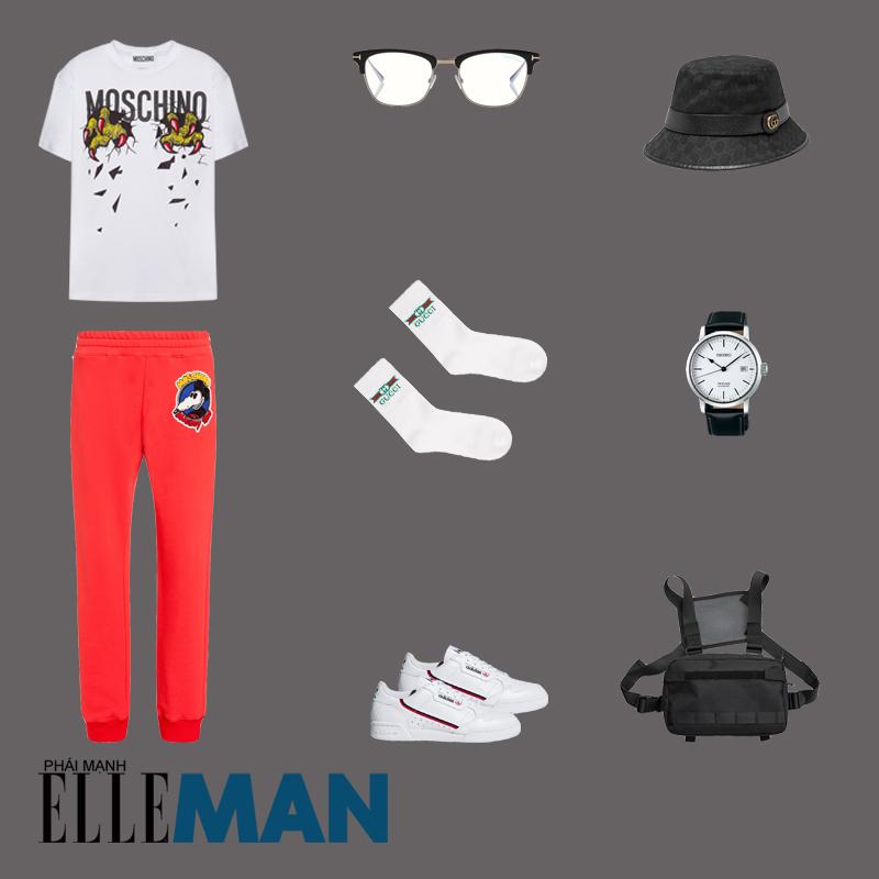 outfit 1 - phối đồ với áo thun in