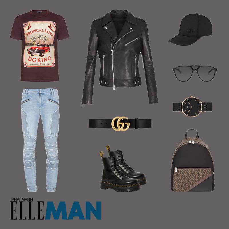 outfit 2 - phối đồ với áo thun in