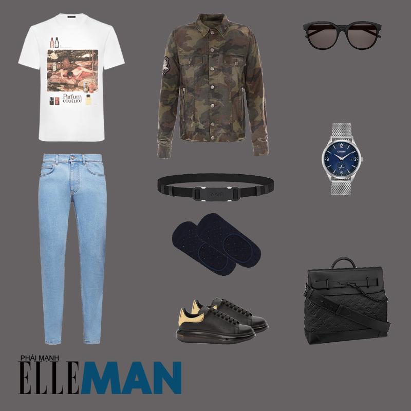 outfit 3 - phối đồ với áo thun in