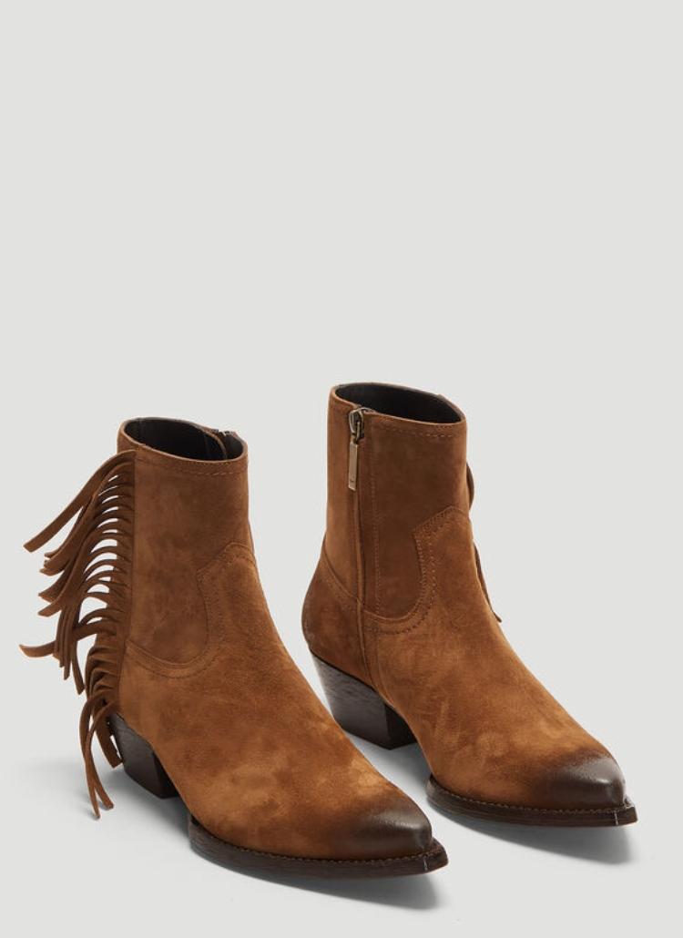 Saint Laurent Lukas Fringed Ankle Boots - elle man