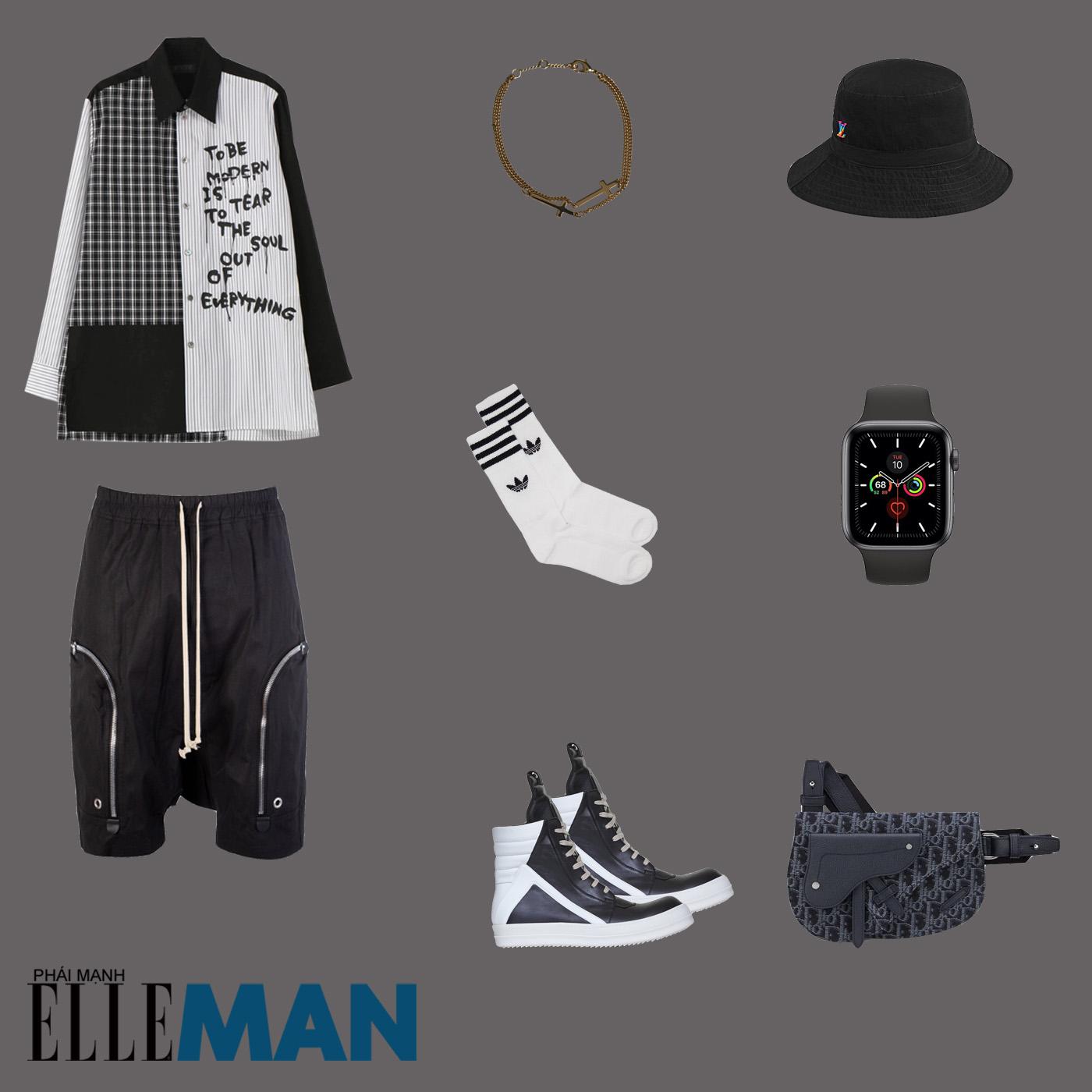 outfit 1 - phối đồ với quần shorts nam