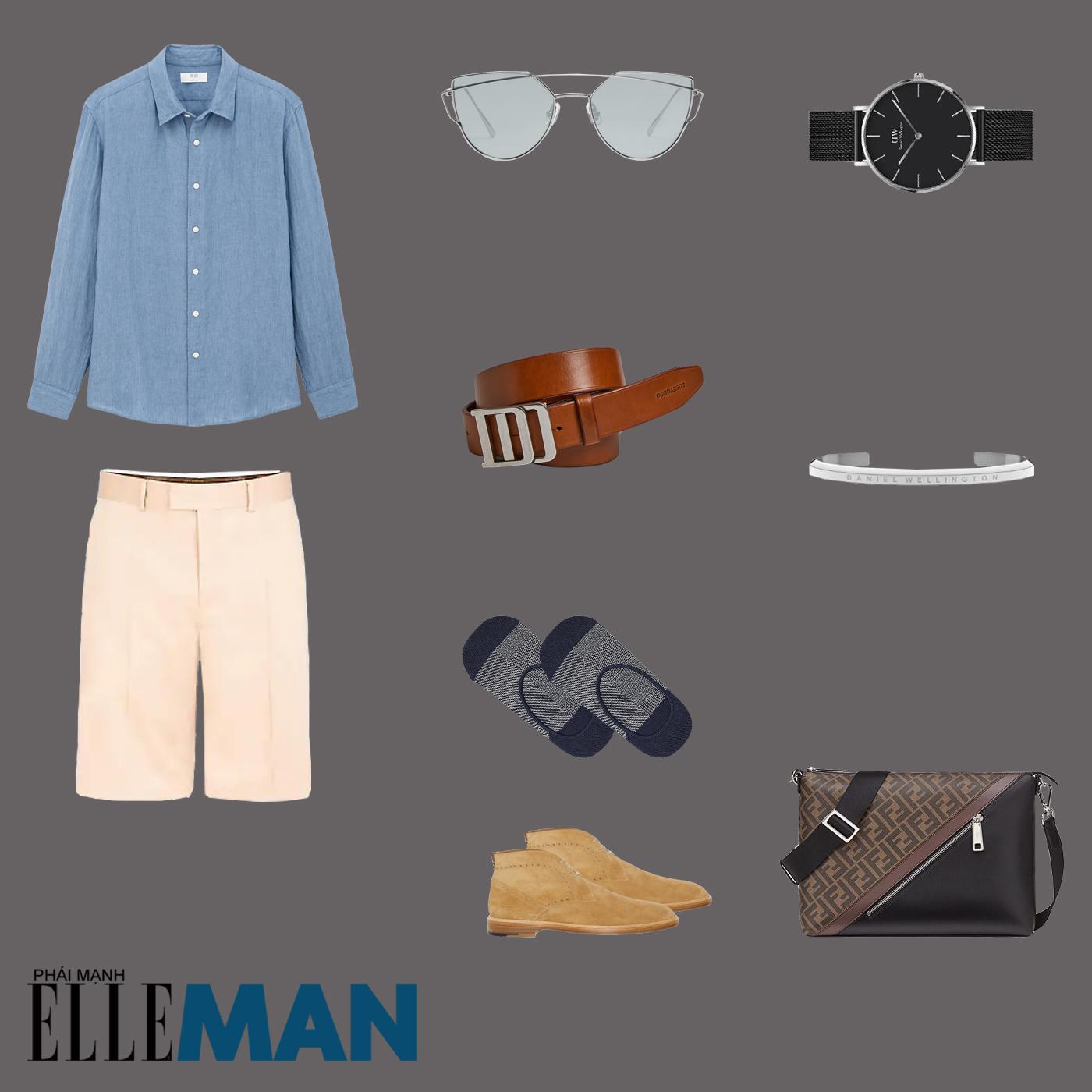 outfit 2 - phối đồ với quần shorts nam