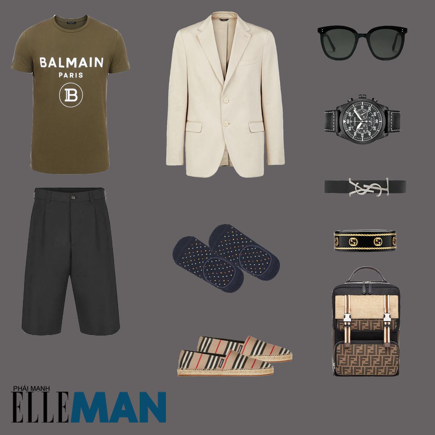 outfit 5 - phối đồ với quần shorts nam
