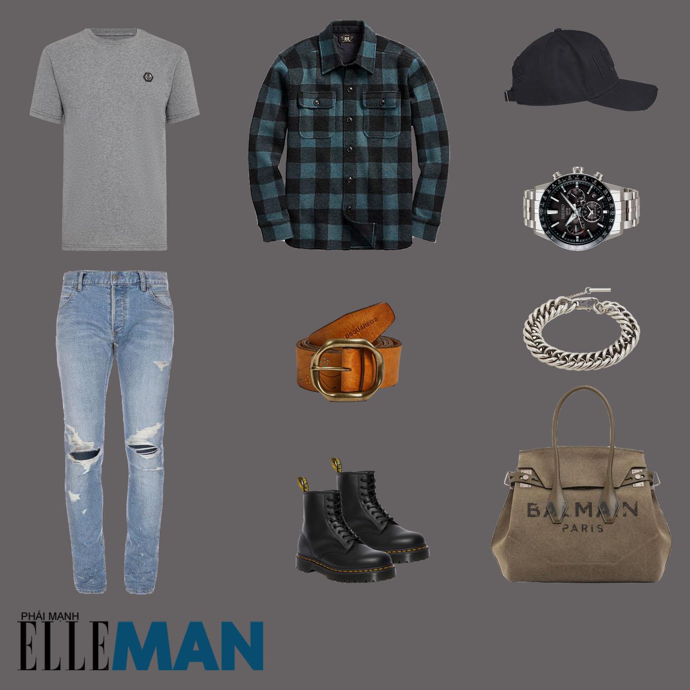 outfit 1 - phối đồ với áo thun basic