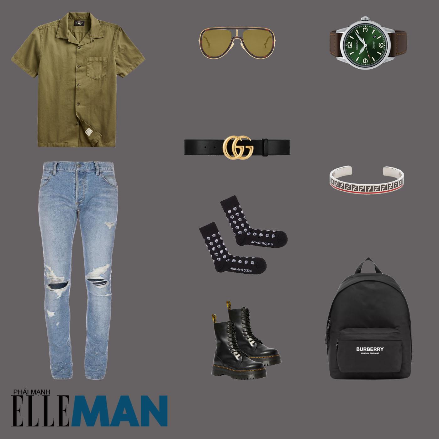 outfit 1 - phối đồ tông màu xanh lá