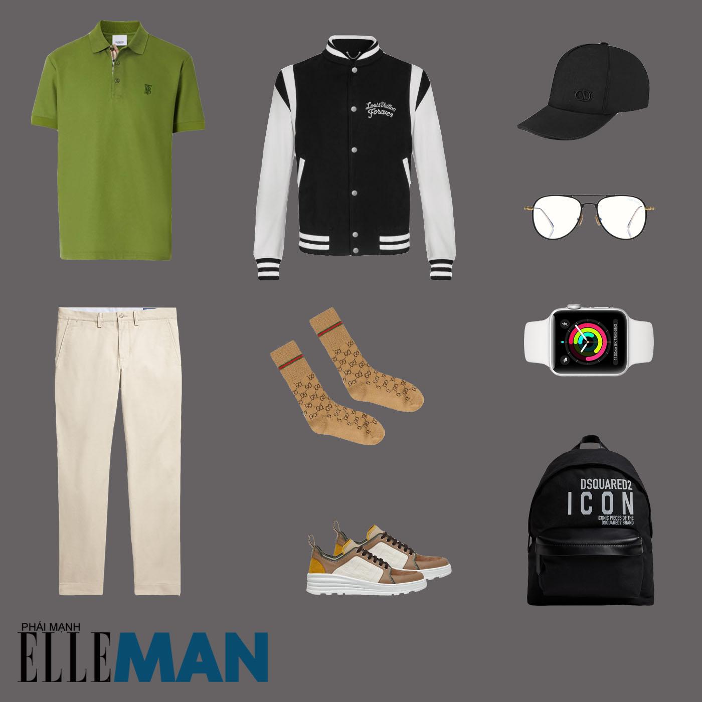 outfit 2 - phối đồ tông màu xanh lá