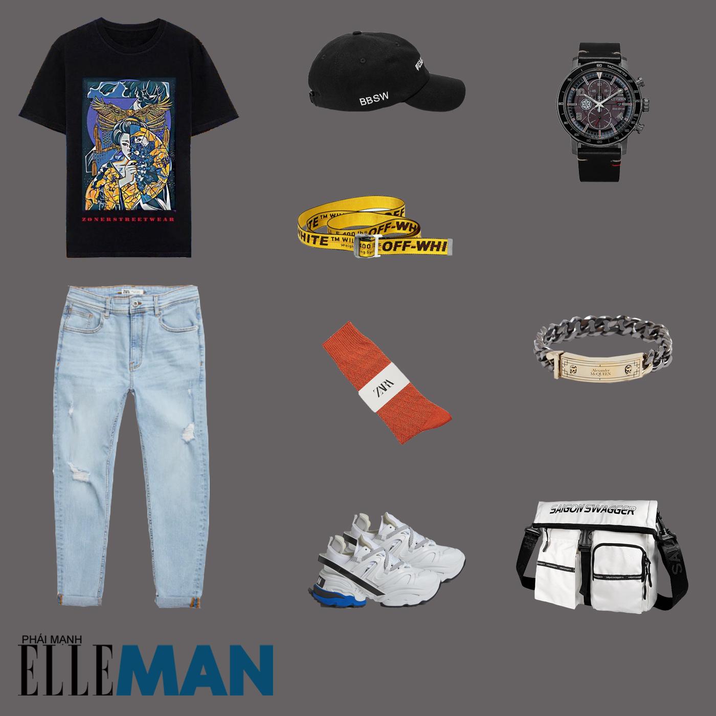 outfit 5 - phối đồ với áo thun local brand