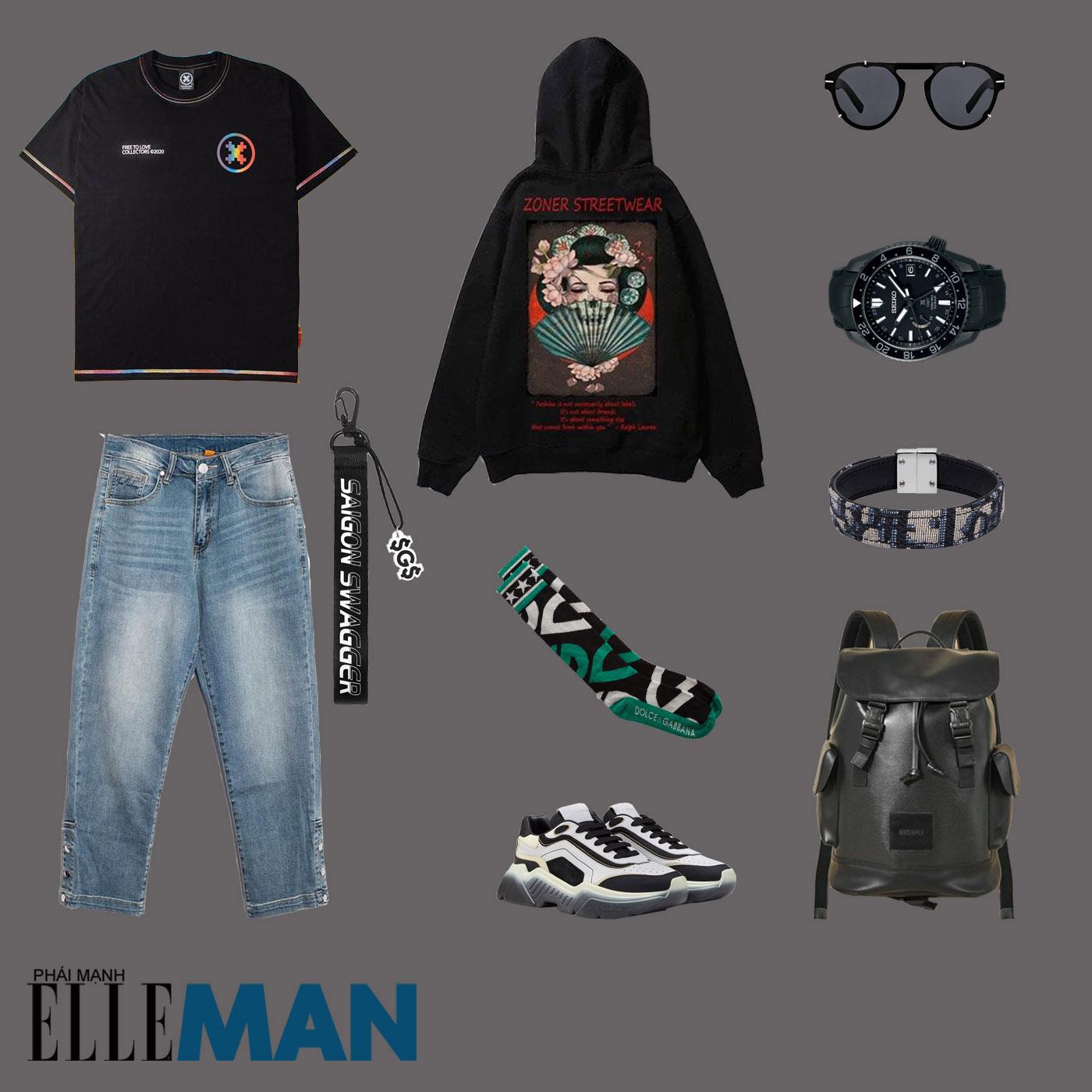 outfit 6 - phối đồ với áo thun local brand