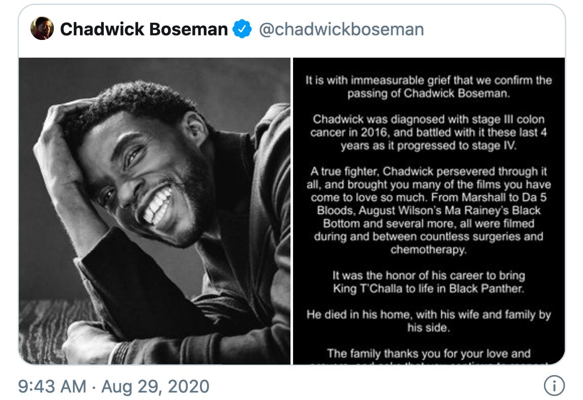 chadwick boseman dòng thông báo