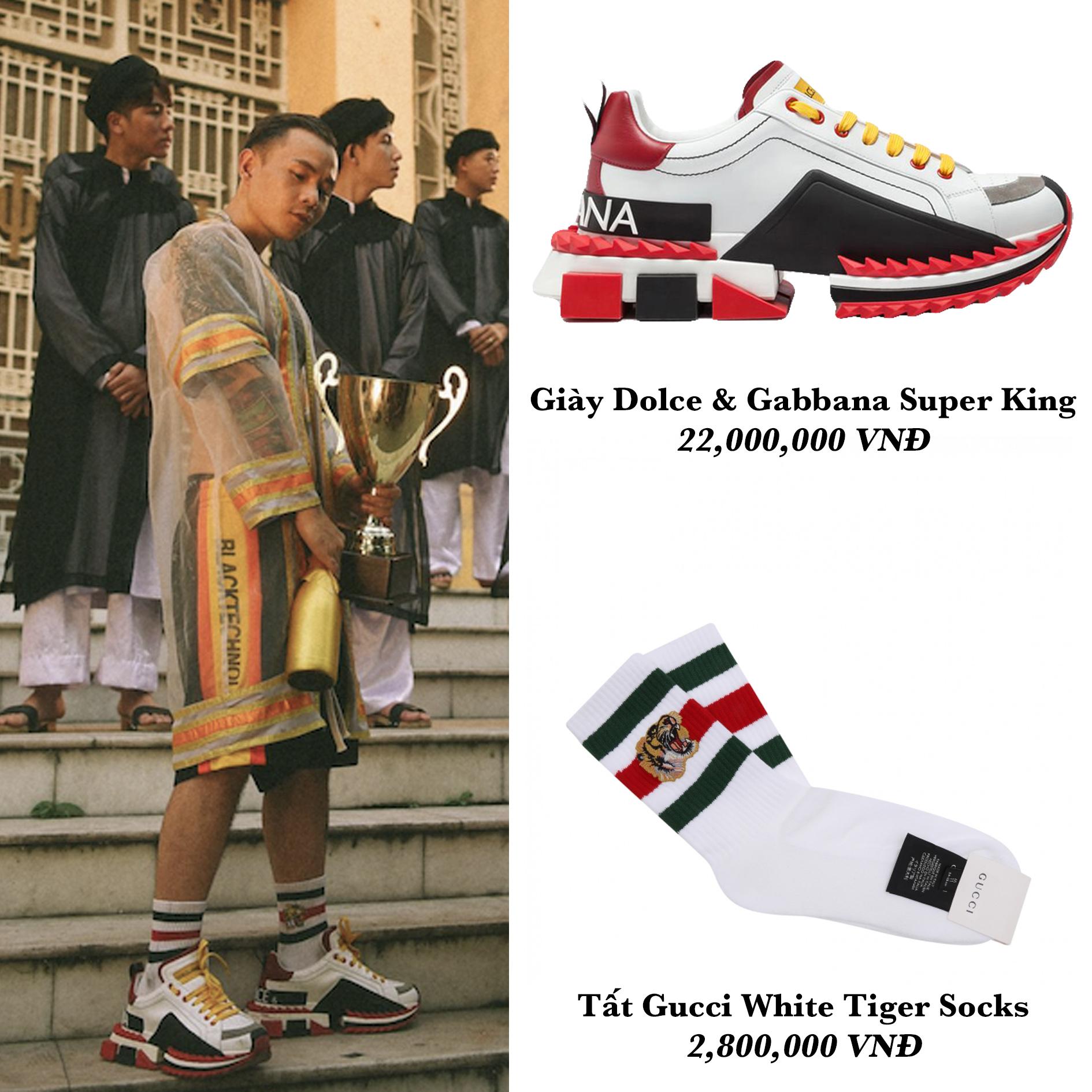 binz đi giày D&G đeo tất Gucci trong mv gene