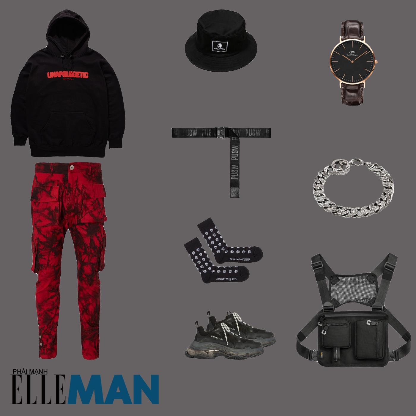 outfit 2 - phối đồ với áo hoodie nam
