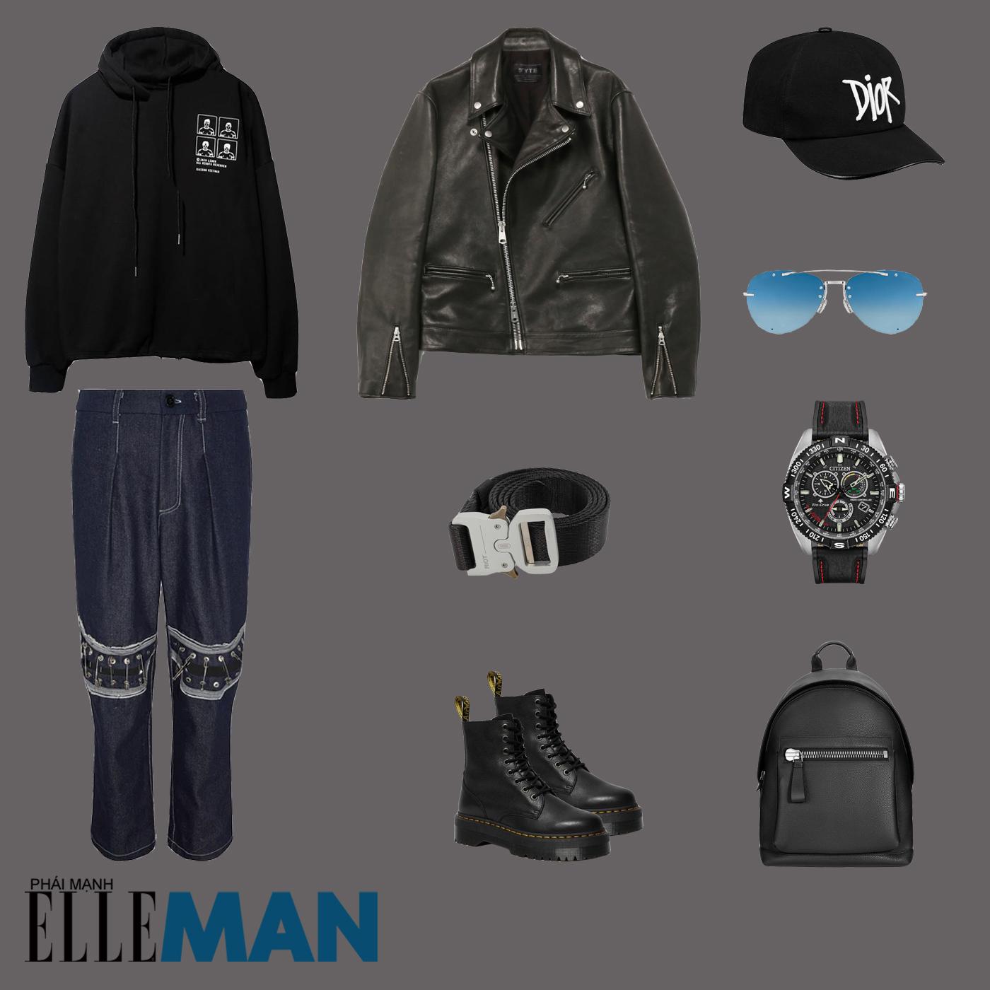 outfit 4 - phối đồ với áo hoodie nam