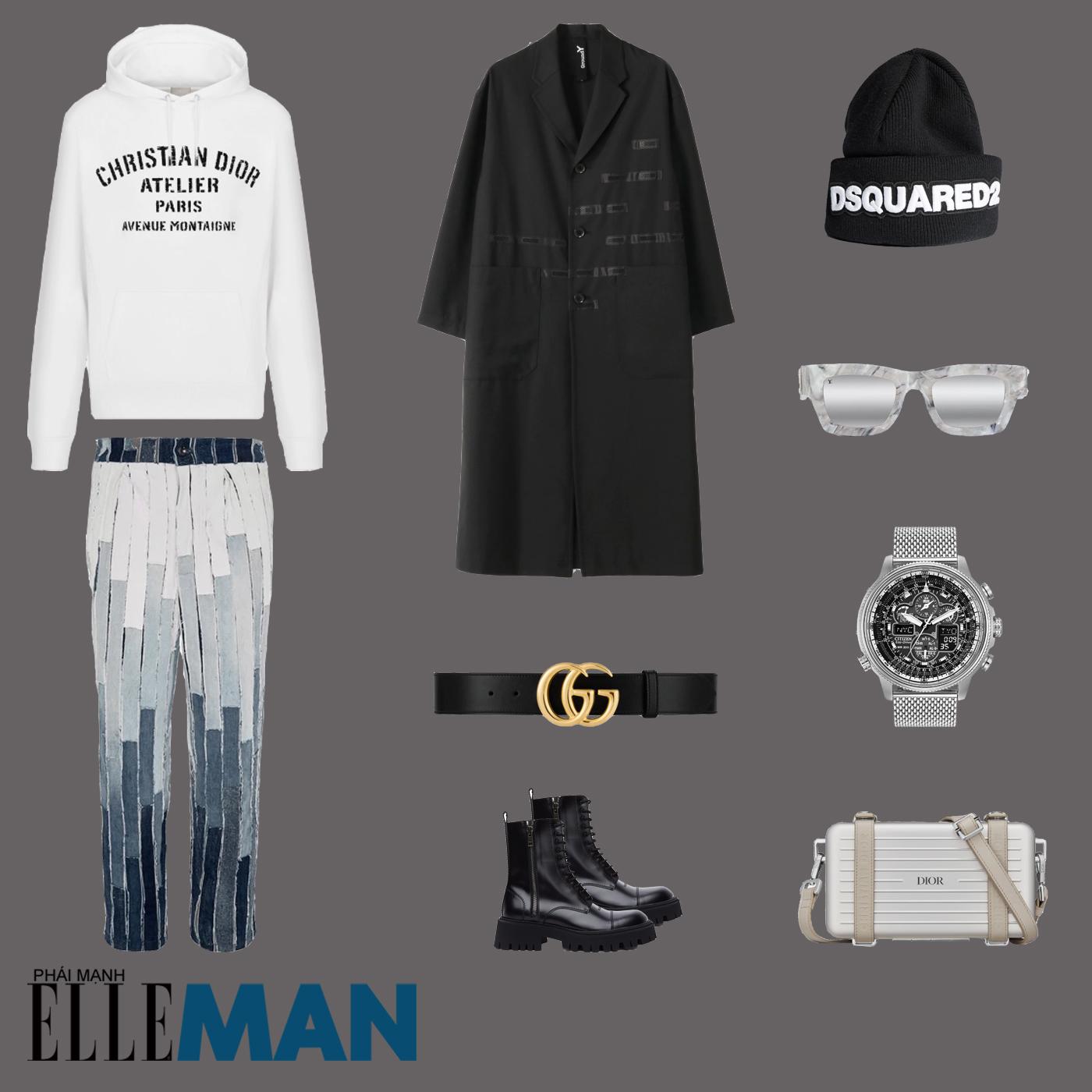 outfit 5 - phối đồ với áo hoodie nam