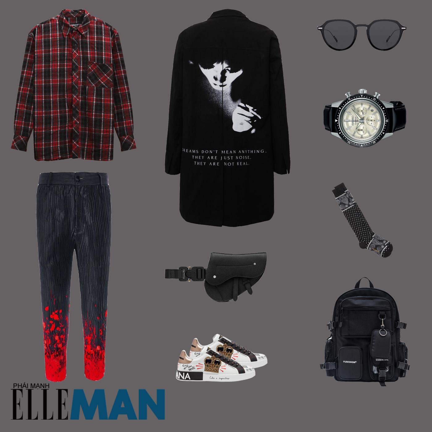 outfit 3 - phối đồ với áo sơ mi flannel