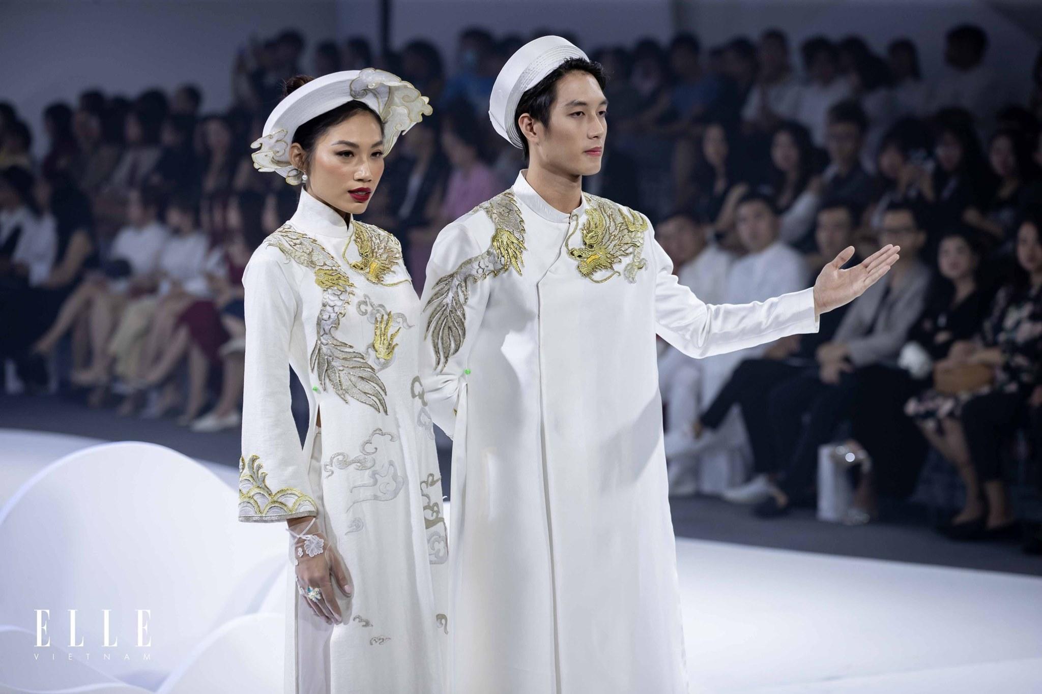 elle wedding art gallery cặp đôi trong áo dài cưới trắng