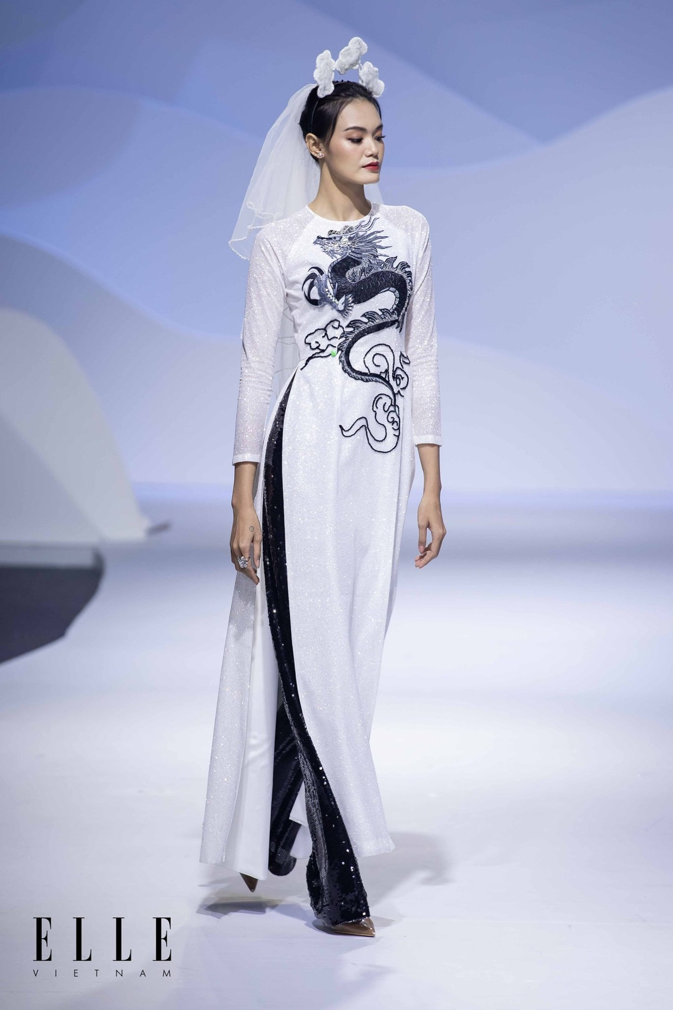 elle wedding art gallery áo dài cưới màu trắng đen