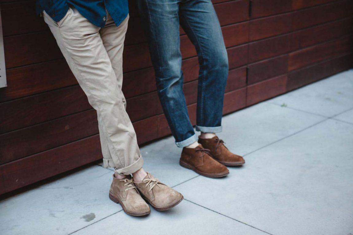 giày chukka màu nâu da lộn