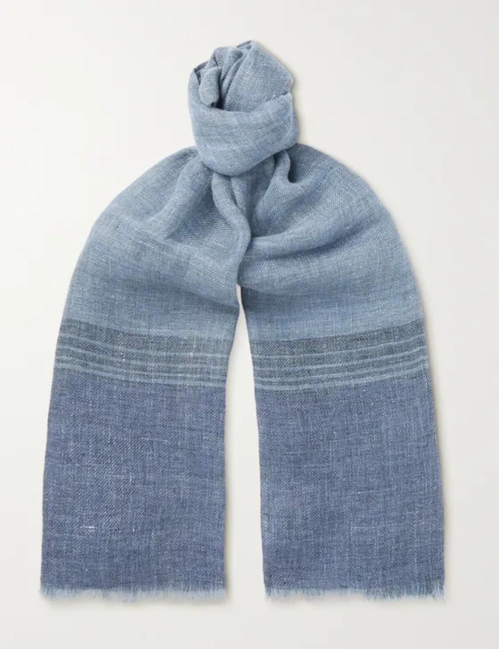 Khăn vải lanh màu xanh thời trang nam Loro Piana