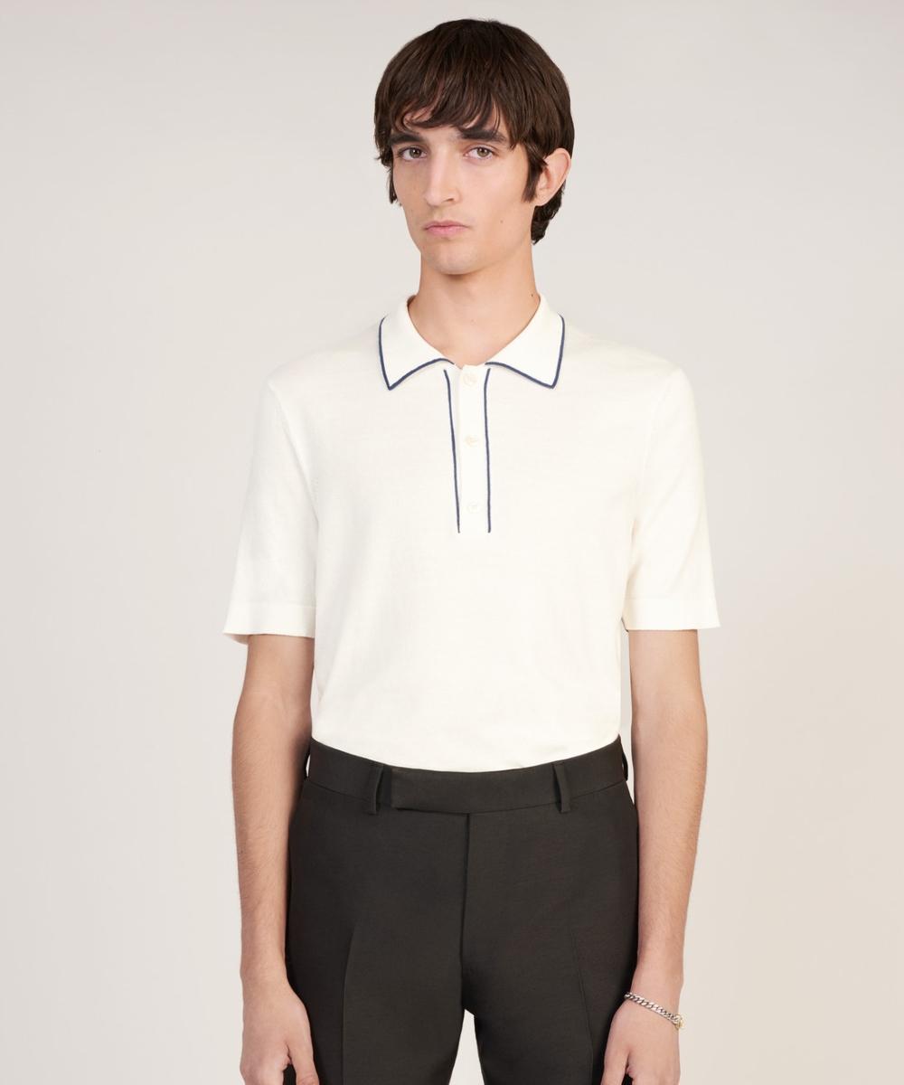 Dunhill Silk Stripe Trim SS áo Polo