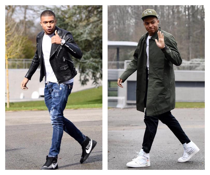 Kylian Mbappe mang sneaker Nike x OFF-WHITE