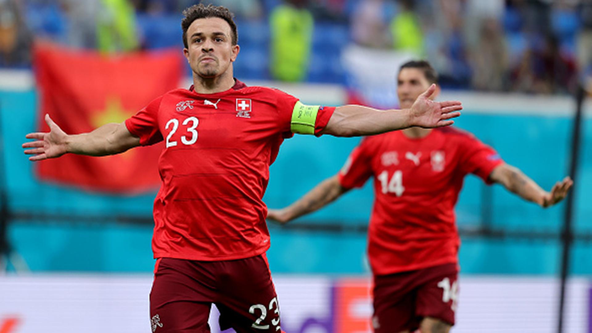 Shaqiri ăn mừng khi gỡ hoà vào lưới Tây Ban Nha Từ Kết Euro 2020