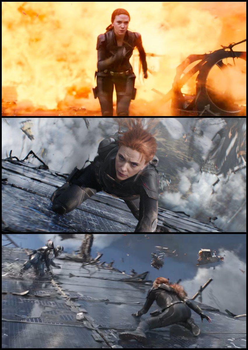 Những cảnh hành động của Nartasha trong Black Widow (2021).