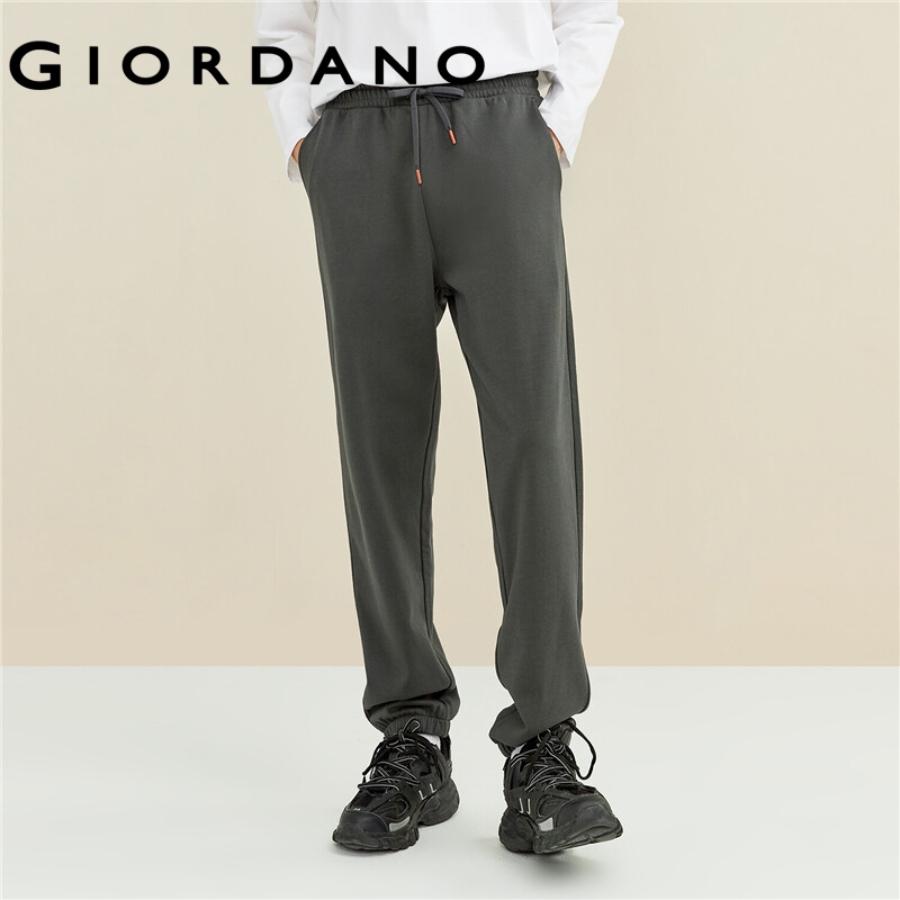 GIORDANO MEN Solid color elastic waistband jogger