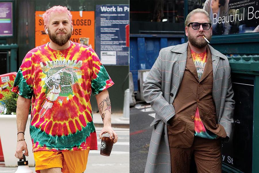 Jonah Hill cùng những bộ outfit đặc sắc với hoạ tiết Tie Dye