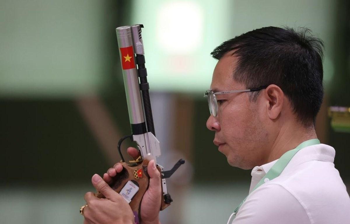 Hoàng Xuân Vinh tại Olympic Tokyo 2020.