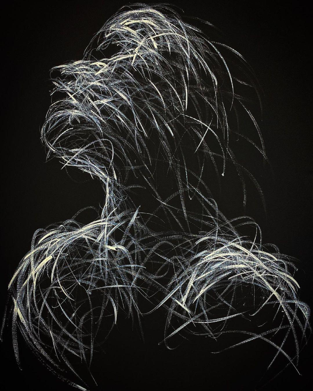 Tác phẩm có nền đen và chất liệu acrylic trắng giản đơn thể hiện ước muốn vươn lên vượt ra khỏi bóng tối của con người (thuộc BST Ligne de Vie (Lifeline)).