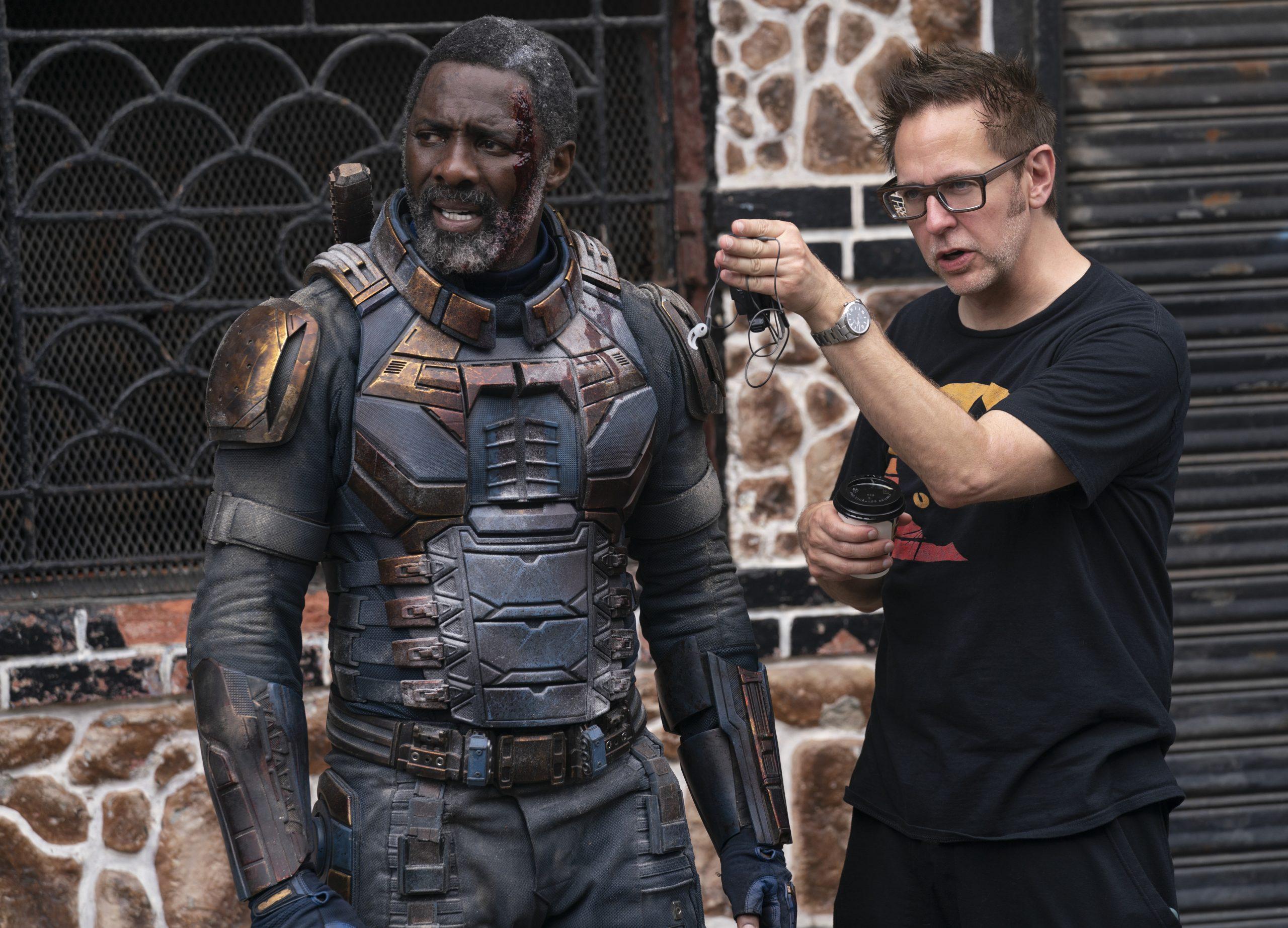 Nam diễn viên Idris Elbba và đạo diễn James Gunn.