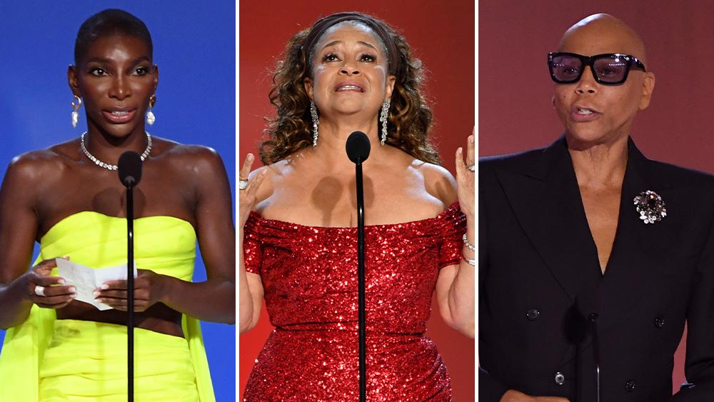 Michaela Coel, Debbie Allen và RuPaul Charles, những người da màu hiếm hoi được phát biểu nhận giải trên sân khấu