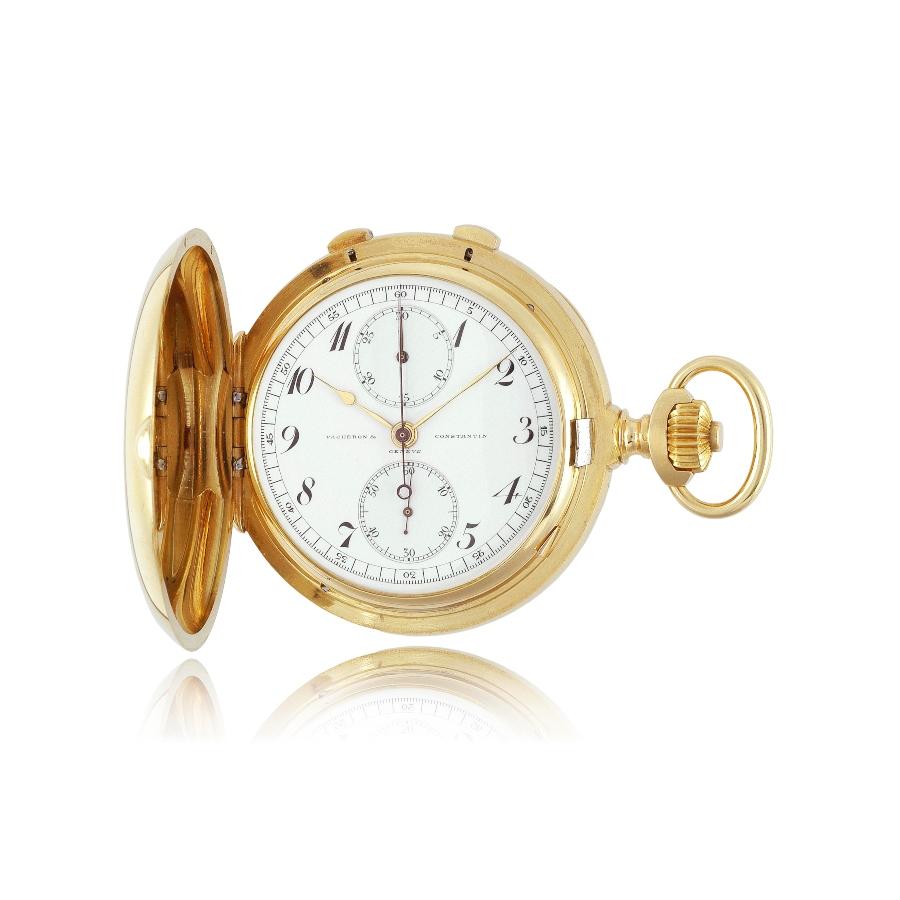 Đồng hồ bấm giờ bỏ túi kiểu thợ săn bằng vàng 18K, với cơ chế bấm giờ tách giây (Inv. Ref. 11528) - 1913
