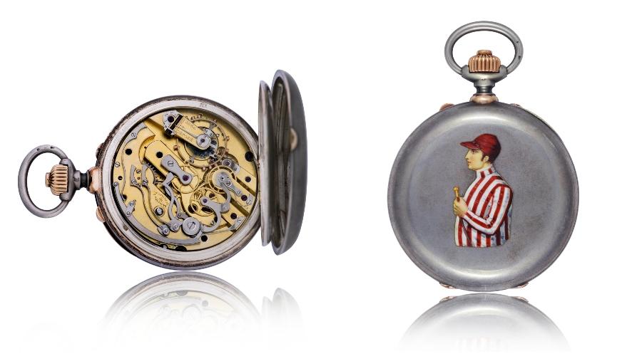 Đồng hồ bỏ túi bằng bạc và vàng đỏ với cơ chế bấm giờ tách giây (Ref. Inv. 11092) – 1889
