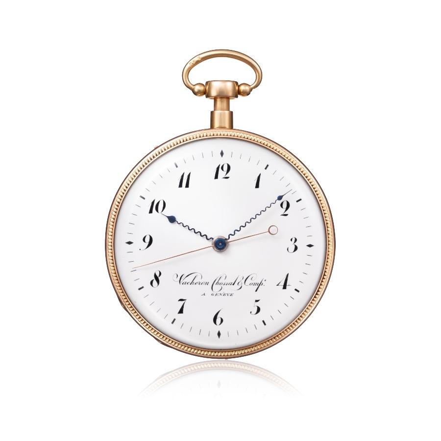 Đồng hồ bỏ túi bằng vàng đỏ, với bộ lặp một phần tư và cơ chế kim giây giật độc lập (Inv. Ref. 12085) - 1819