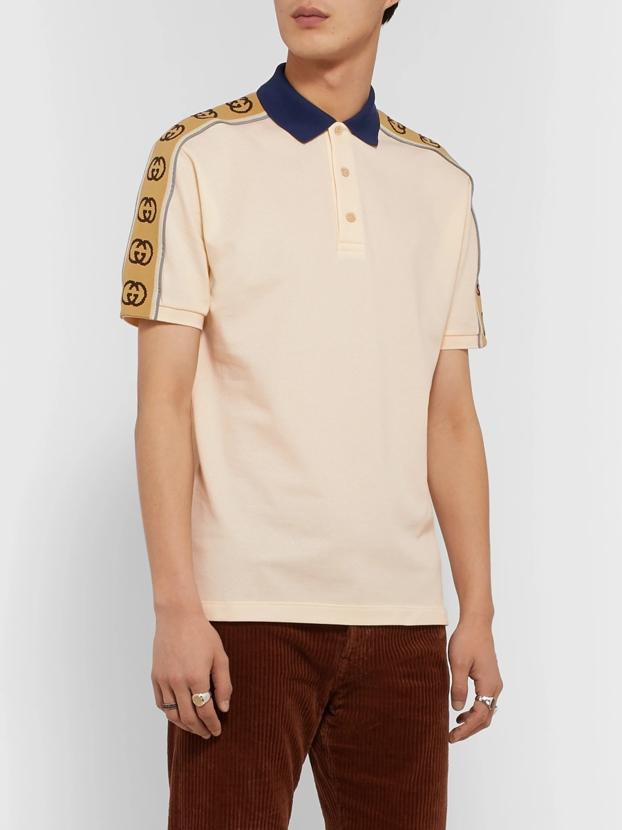 Logo-Jacquard Webbing-Trimmed Stretch-Cotton Piqué Polo Shirt