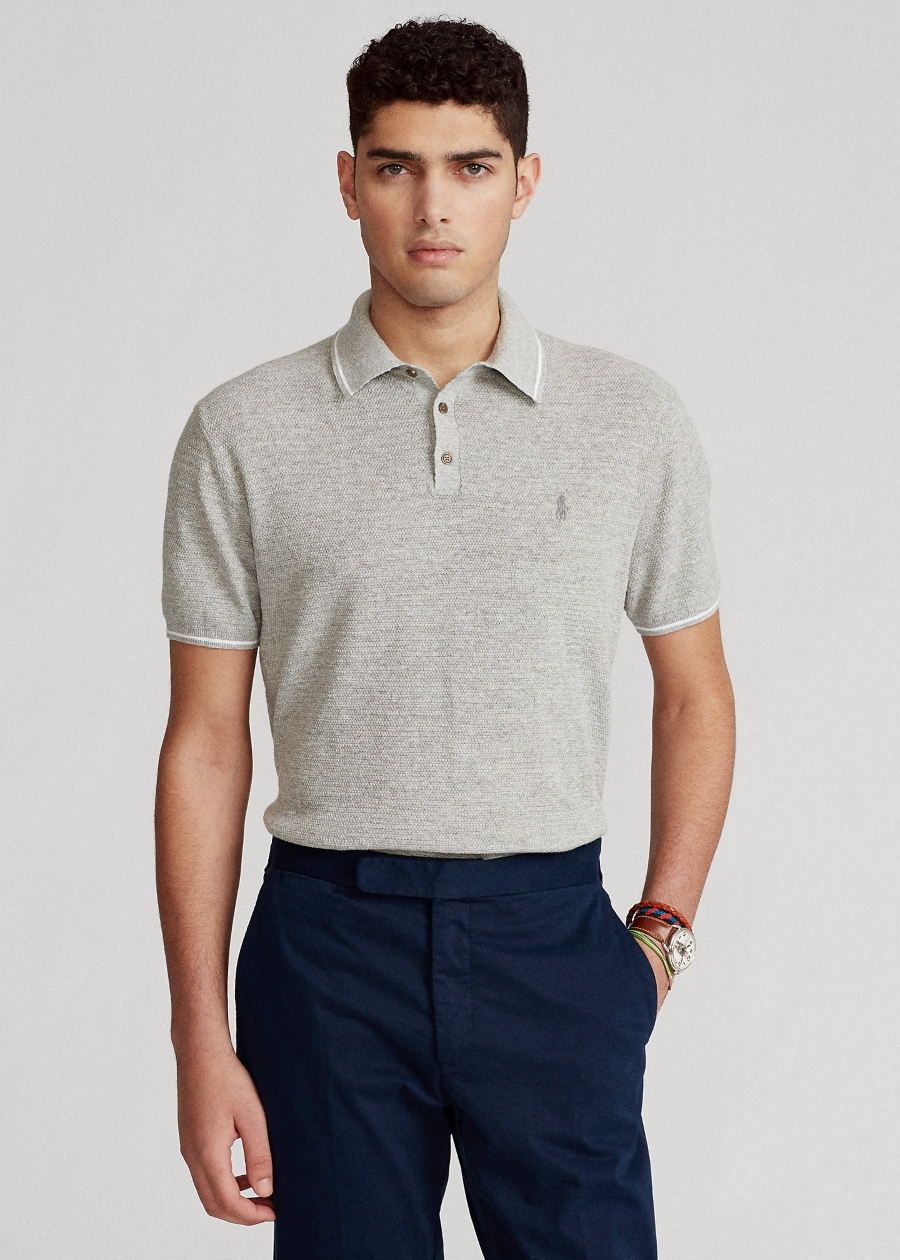 Polo Ralph Lauren Cotton-Linen Polo-Collar Sweater